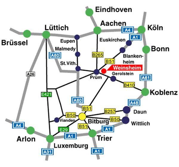 Anfahrtskizze zu den Westeifel Werken Weinsheim mit Autobahnen