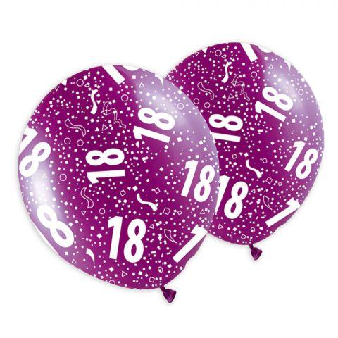 """Bunte Metallicballons mit weißem Audruck Rundumdruck """"18"""" und Konfetti."""