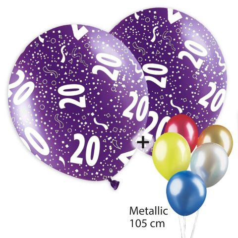 """Bedruckte, bunte Luftballons mit """"20"""" und Konfetti drauf in weiß plus bunte, unbedruckte Traube aus Metallic-Ballons."""
