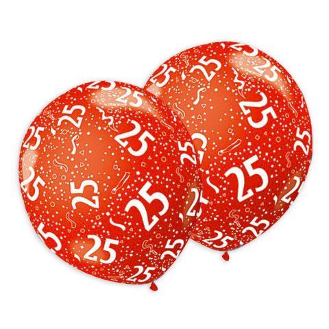 Metallic-Geburtstagsballons mit der Zahl  25 und Konfetti aufgedruckt.
