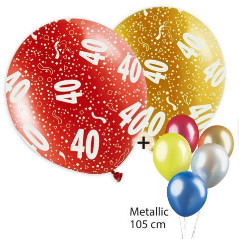 """Bunte Ballons, bedruckt mit """"40"""" und Konfetti plus bunt gemischte Ballontraube mit Metallicballons."""