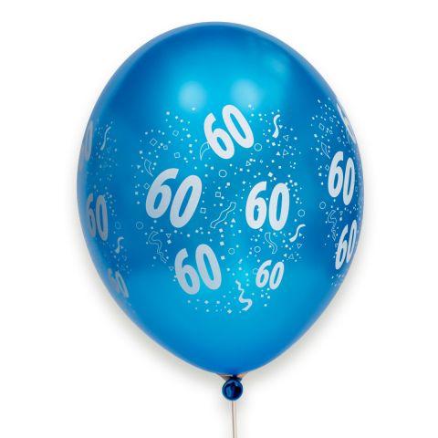 Bunte metallic Ballons, rundum bedruckt mit 60 und Konfetti.