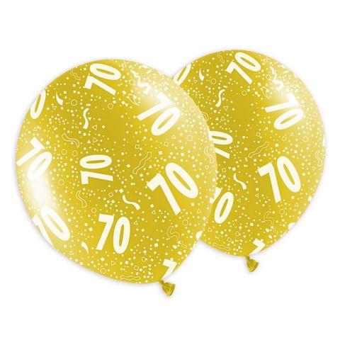 """Jubiläumsballons in Metallikoptik mit Aufdruck """"70"""" und Konfetti in weiß. Bunt gemischte Ballons."""