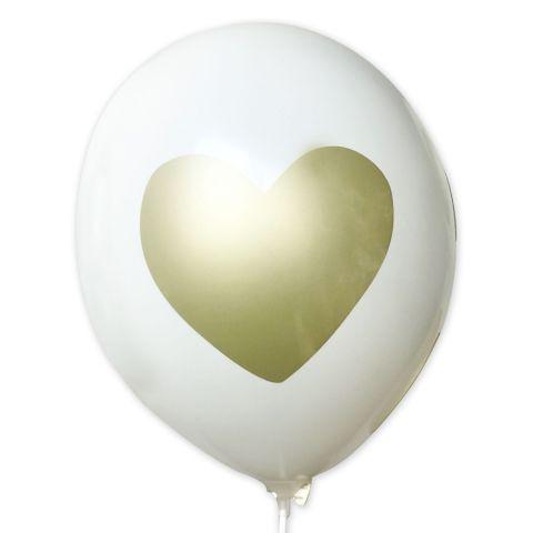 Ballons «cœur avec petons», ballons de couleur blanche avec l'impression d'or