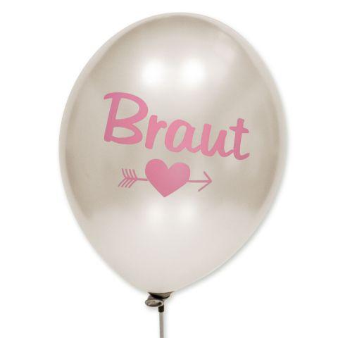 """Weiß metallic Ballons mit rosa Aufdruck """"Braut"""" mit Motiv darunter Herz und Pfeil durch."""