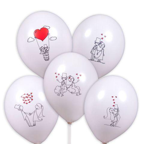 5 weiße Ballons mit 5 unterschiedlichen Brautpaar-Motiven in schwarz und rot gedruckt.