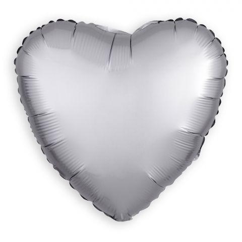 Ballon aluminium coeur platine / argent (43 cm)