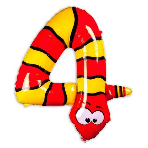 """Große """"4"""" als Folienballon in orange/gelb, Tiermotiv: Schlange."""