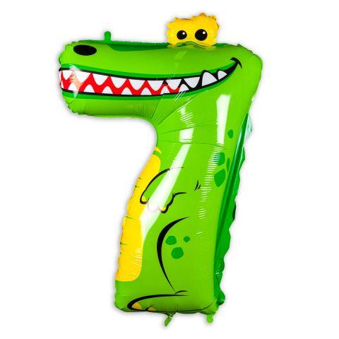 "Große ""7"" als Folienballon in grün/weiß/gelb, Tiermotiv: Krokodil."