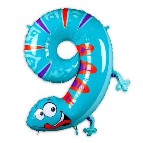 """Große """"9"""" als Folienballon in hellblau/rot/lila, Tiermotiv: Gecko."""