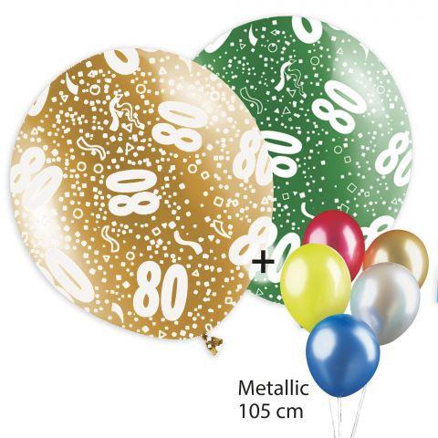 """Bunte Luftballons, bedruckt mit """"80"""" und Konfettimotiv, rundum. Plus bunte, unbedruckte Metallicballons."""