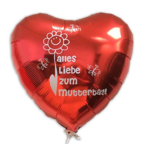 """Roter Folienballon mit weißem Aufdruck """"Alles Liebe zum Muttertag"""". Drumherum 3 Schmetterlinge und eine Sonnenblume."""