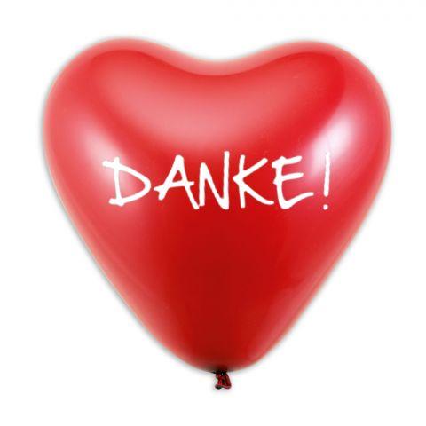 """Roter Herzballon mit weißem Aufdruck """"Danke!"""""""
