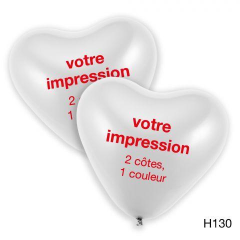 Votre impression en rouge sur de grands ballons coeur blancs