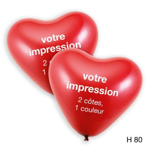 Votre impression en blanc sur des ballons coeur rouge