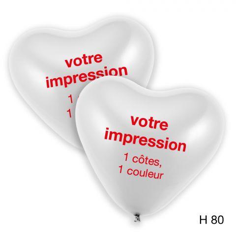ballons coeur blanc avec imprimé rouge