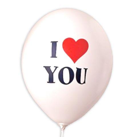 """Weißer Luftballon mit Aufdruck """"I love you"""" in rot und schwarz. love = rotes Herz"""