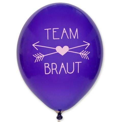 Ballons «Team Braut» – ballons de couleur violet avec impression rose